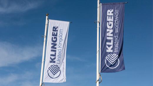 Klinger flags on a flagpole