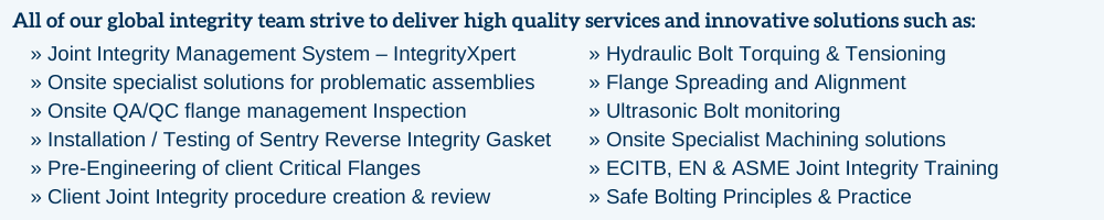 List of solutions offered by Klinger Integrity Services