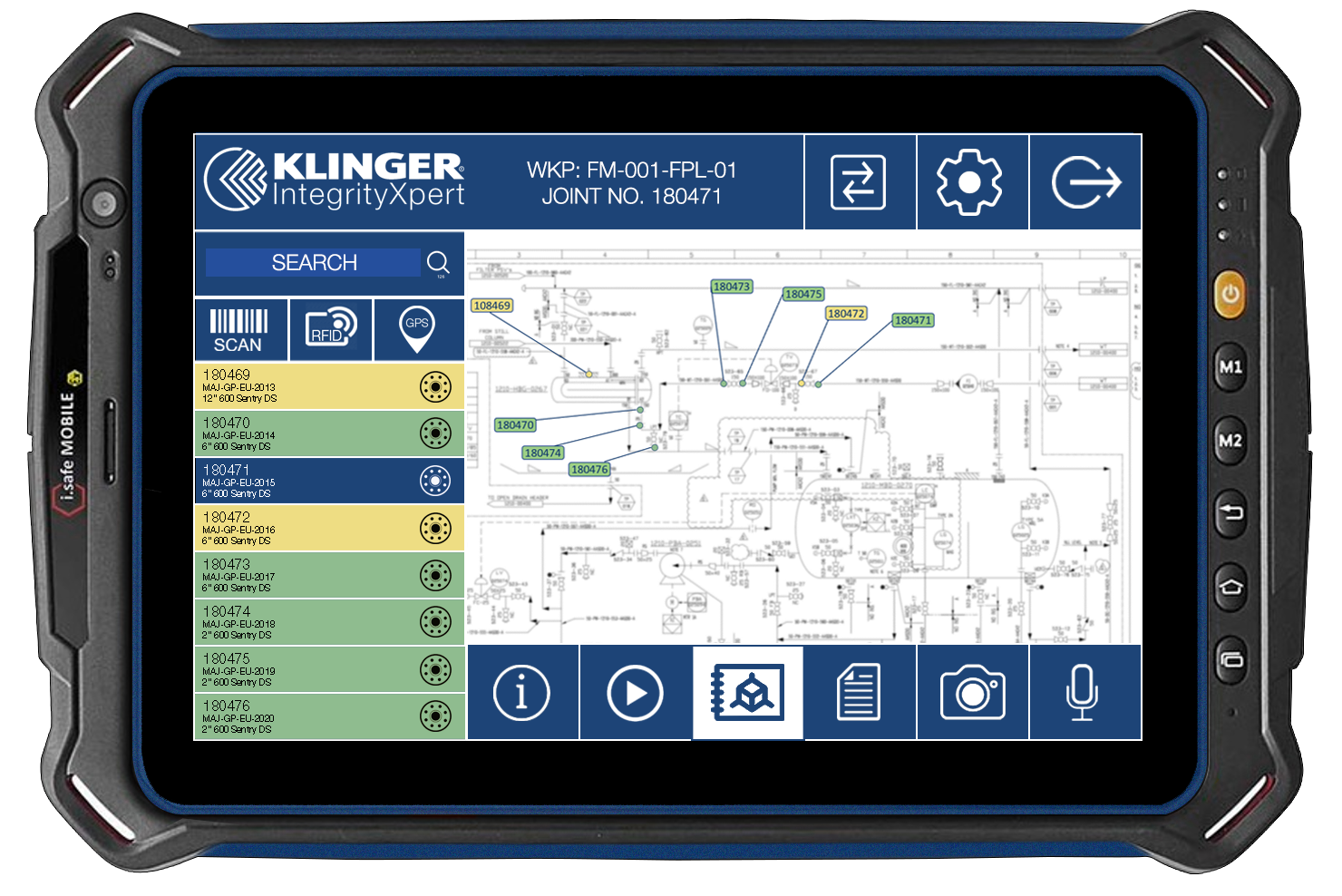 IntegrityXpert on a handheld device